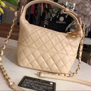Authentic CHANEL Nude/Beige Hobo Shoulder Bag